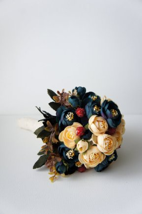blue and champagne bridal bouquet - 2
