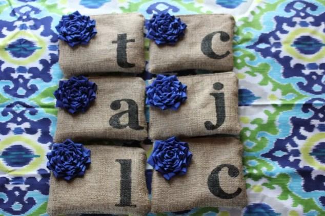 blue flower initial clutch purses