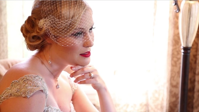 bride birdcage veil | A Luxurious Wedding at the Kohl Mansion (California Weddings) | http://www.emmalinebride.com/real-weddings/a-luxurious-wedding-at-the-kohl-mansion-real-wedding-video/ | Film (Wedding Video): Baby Blue Film