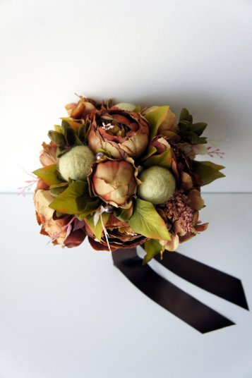brown green peony bouquet - 2