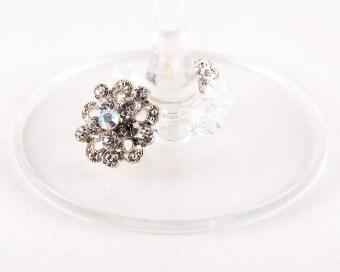 elegant wine charms - crystal flower