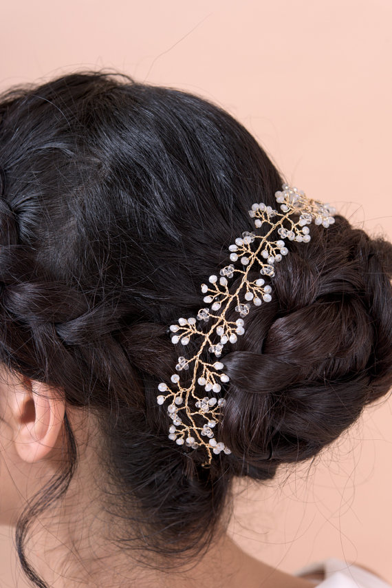 hair vine headband wrapped around bun - right