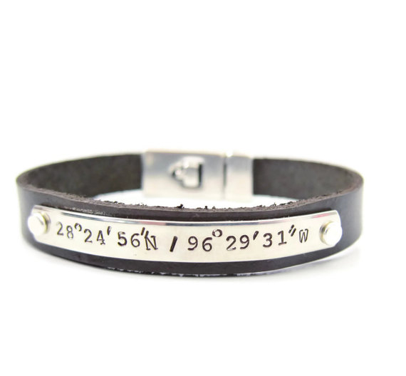mens latitude and longitude bracelet