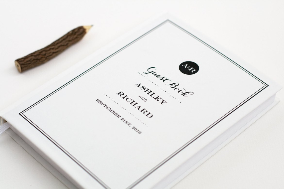 modern black and white guest book