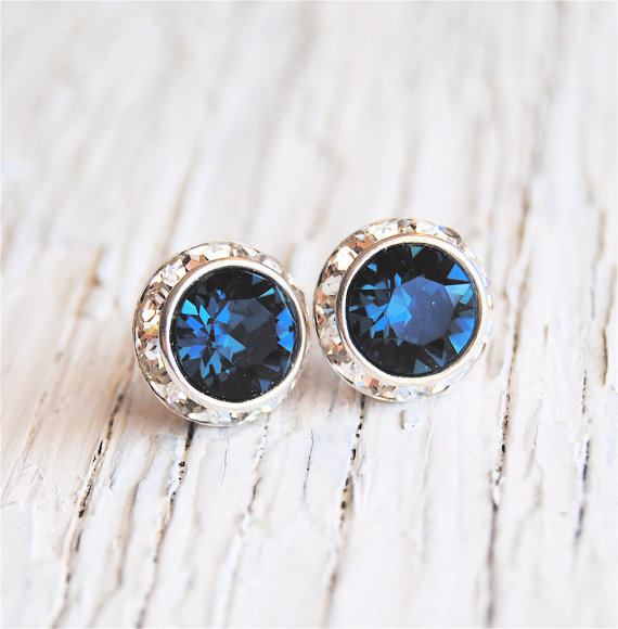 navy blue earrings by MASHUGANA | via 50+ nautical wedding theme ideas at EmmalineBride.com