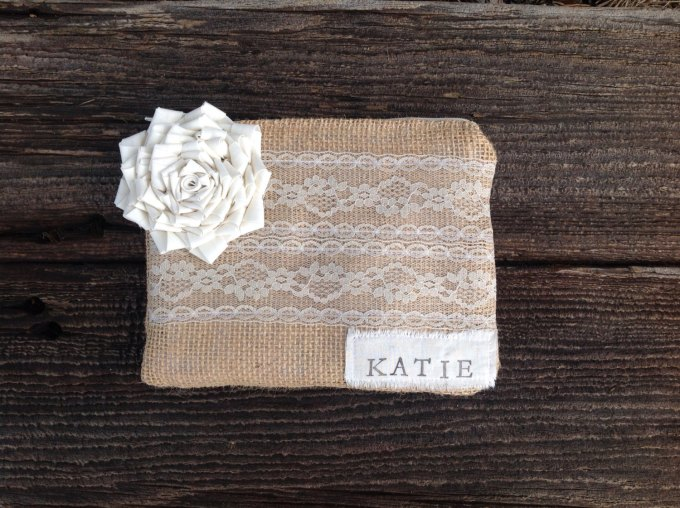 personalized burlap clutch with bridesmaids name in corner