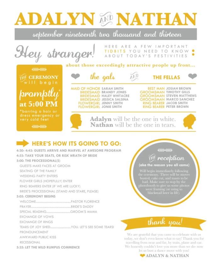 poster style wedding program