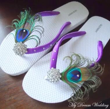 purple peacock flip flops