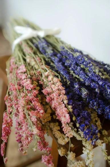 purple pink larkspur bouquets