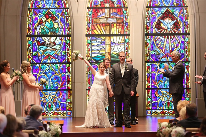 stain glass church wedding | Sarah + JJ's Pretty Wedding at 173 Carlyle House | http://www.emmalinebride.com/real-weddings/pretty-wedding-173-carlyle-house/ | photo: Melissa Prosser Photography - Atlanta Georgia Wedding Photographer