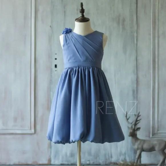 steel blue flower girl dress