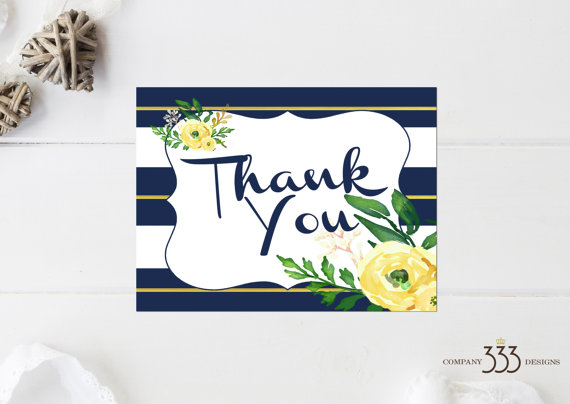 wedding invites - navy and yellow thank you card