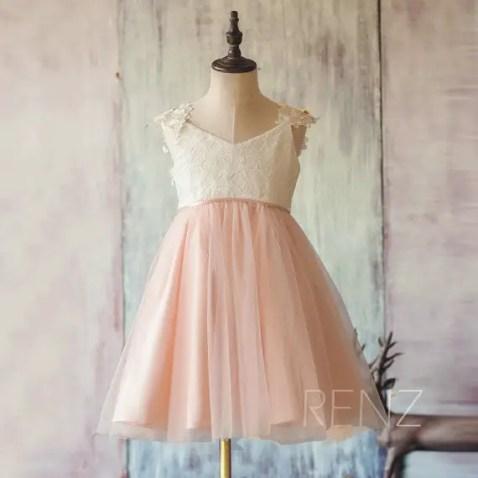 white and blush flower girl dress renzrags