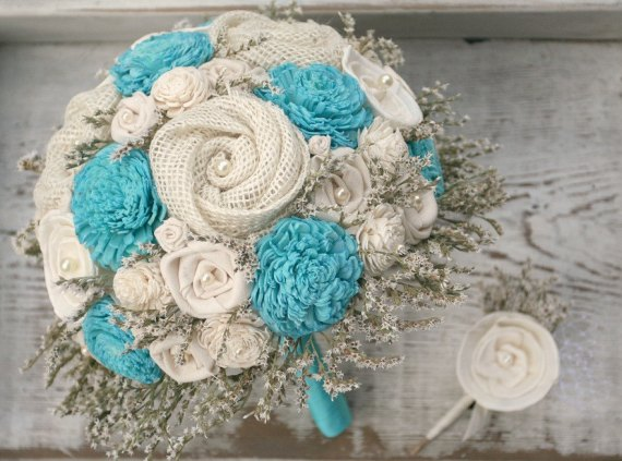 aqua sola fabric flower bouquet
