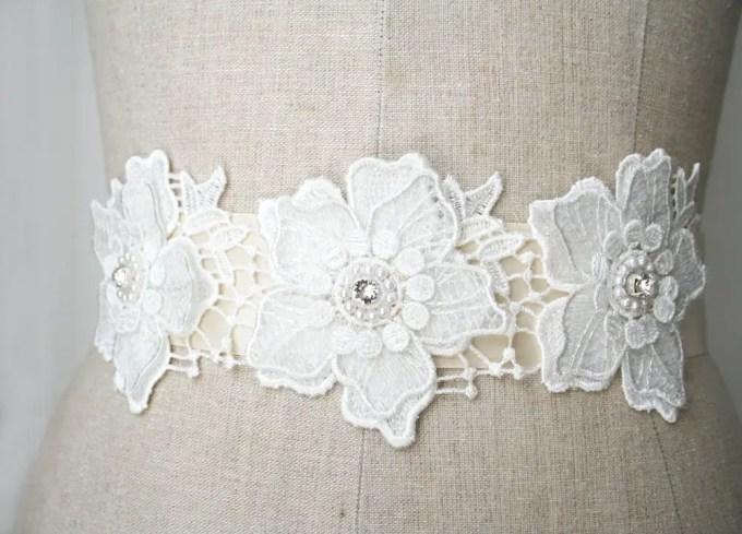 Beaded flower dress sash with rhinestones | by Laura Stark | sashes dress | http://emmalinebride.com/bride/bridal-sashes-dress