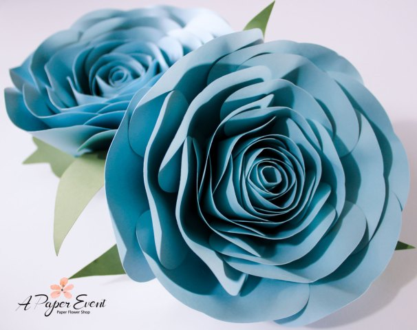 blue paper flower round