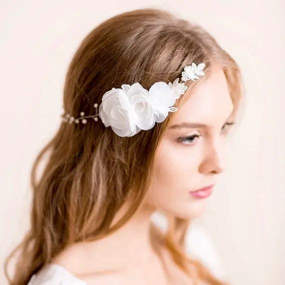 bridal headpiece hair chain hair down hairstyle - 1