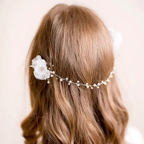 bridal headpiece hair chain hair down hairstyle - 2