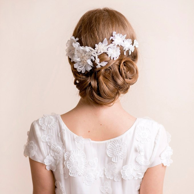 bridal headpiece on lace floral | hairstyles accessories weddings | http://emmalinebride.com/bride/hairstyles-accessories-weddings/ | via florentes: http://etsy.me/22yo1LX