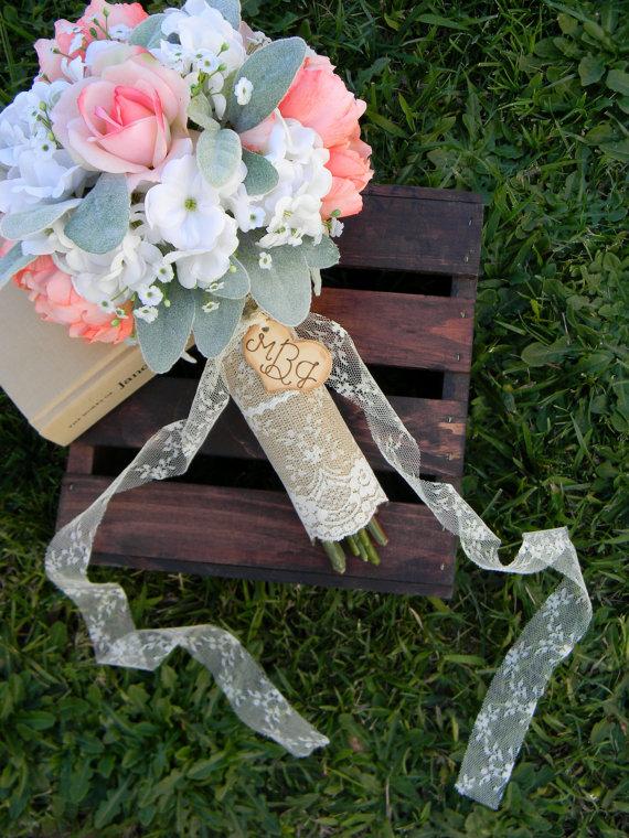 burlap and lace rustic wedding bouquet wrap   wedding bouquet wraps: http://emmalinebride.com/bouquets/wedding-bouquet-wraps/