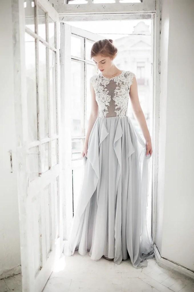 dreamy grey wedding dress