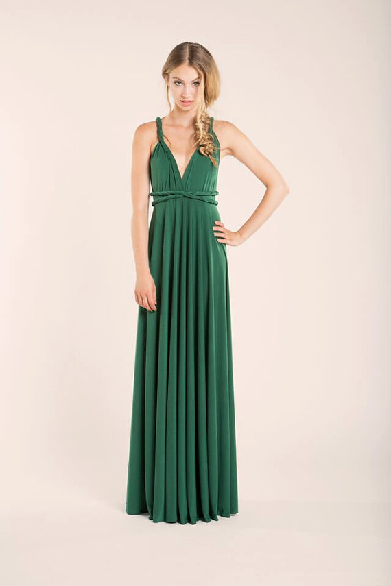 emerald green convertible bridesmaid dress