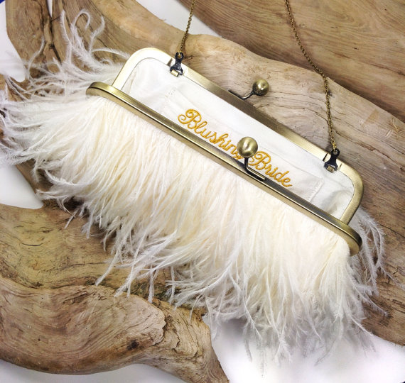 feather-clutch-purses-weddings-ivory-gold-ostrich-feather