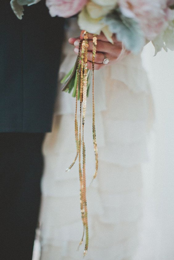 gold sequin bouquet wrap | photo: taylor lord photography | wedding bouquet wraps: http://emmalinebride.com/bouquets/wedding-bouquet-wraps/