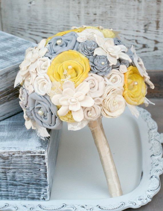 gray and yellow fabric wedding bouquet