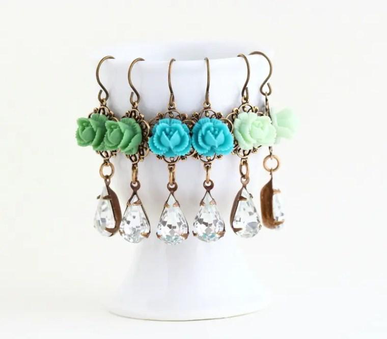 green and blue flower dangling earrings