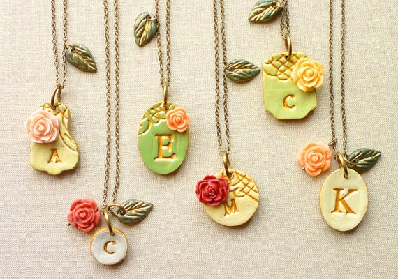 initial-necklaces-for-bridesmaids | by Palomaria | bridesmaid necklaces initials | http://emmalinebride.com/gifts/bridesmaid-necklaces-initials