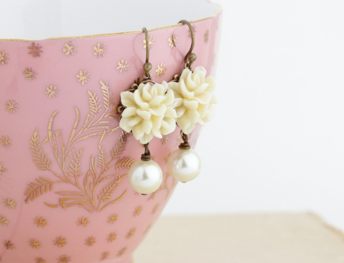 ivory flower earrings