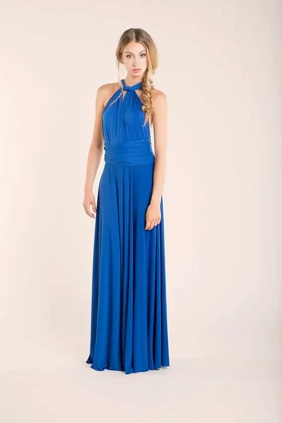 long royal blue convertible bridesmaid dress