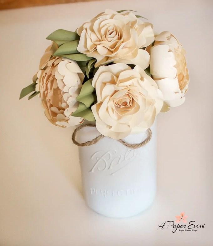 Paper Flower Bouquet in Mason Jar | by A Paper Event | http://emmalinebride.com/reception/paper-flower-backdrops/