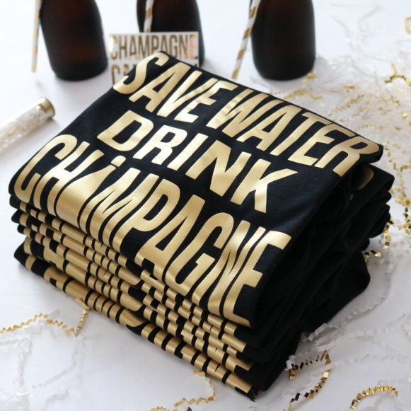 save water drink champagne t shirts by ThreeTwo1