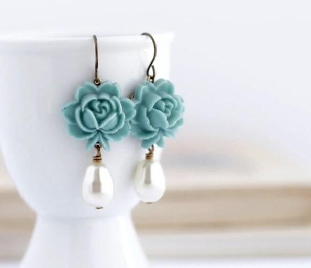 seafoam blue dangling earrings
