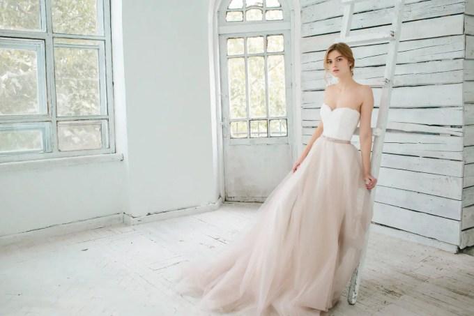 two piece tulle blush wedding dress