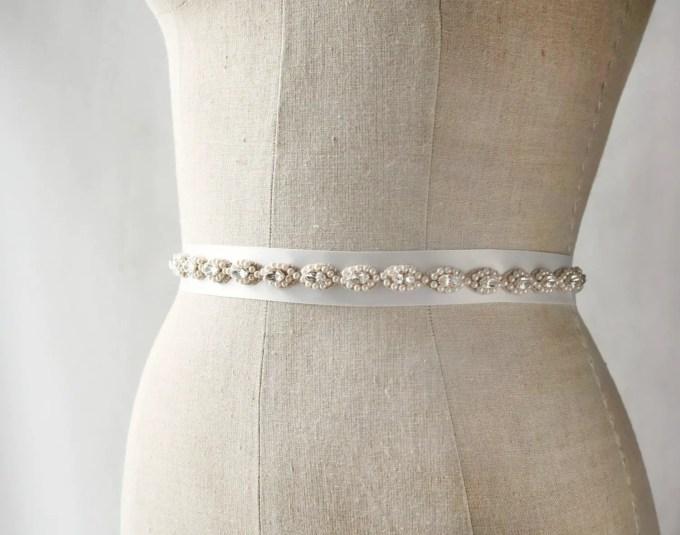 Grecian style wedding dress sash | by Laura Stark | sashes dress | http://emmalinebride.com/bride/bridal-sashes-dress