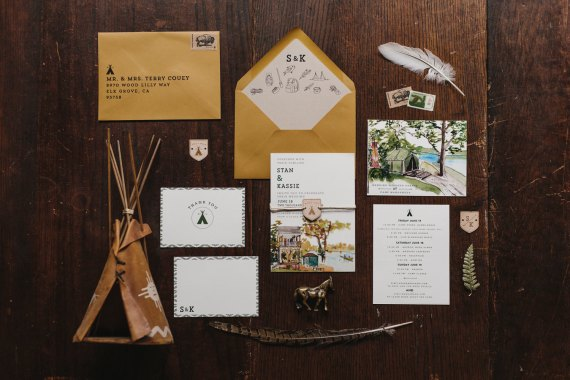 woodland camping wedding invitation | rustic wedding invitations | by Wide Eyes Paper Co. | http://emmalinebride.com/rustic/invitations-rustic-weddings/
