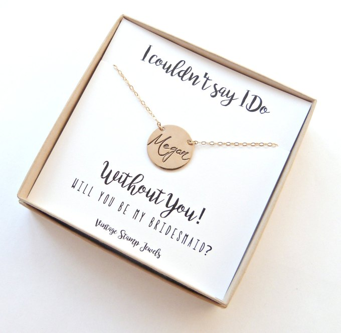 be my bridesmaid name necklace | be my bridesmaid jewelry | http://emmalinebride.com/wedding/be-my-bridesmaid-jewelry/