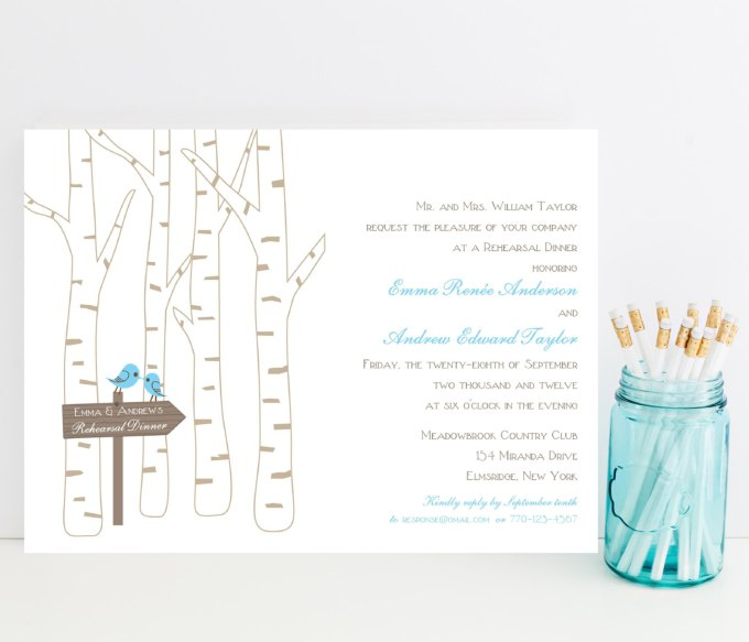 birch tree rehearsal dinner invitations