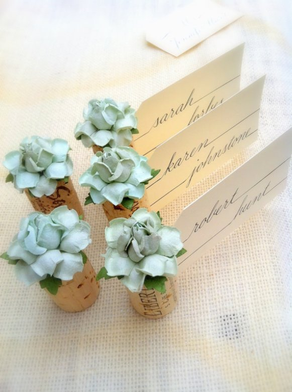 cork place card holder with mint flower