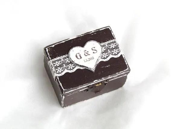 dark wood ring box by GregolinoWedding | 41 Beautiful Rustic Ring Pillows on Etsy | http://emmalinebride.com/rustic/ring-pillows-etsy-weddings/