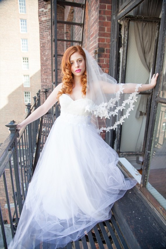 elbow-length bridal veil by OBM Bridal | http://emmalinebride.com/veils/elbow-length-bridal-veil