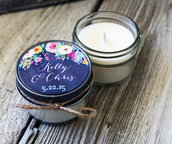 floral pattern | wedding candle favors | http://emmalinebride.com/wedding/candle-favors/