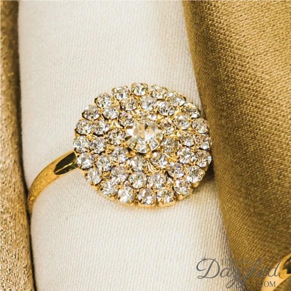 gold rhinestone napkin ring up close