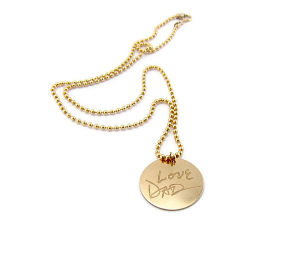 love dad necklace - handwritten jewelry gifts | http://emmalinebride.com/gifts/handwritten-jewelry/