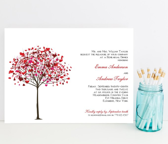 red heart tree rehearsal dinner invitations