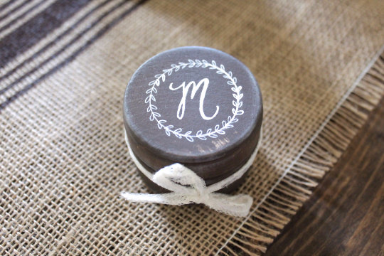 ring bearer box round with initial on top | 41 Beautiful Rustic Ring Pillows Etsy | http://emmalinebride.com/rustic/ring-pillows-etsy-weddings/