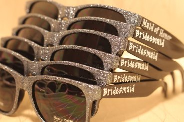 silver glitter wedding sunglasses for photos